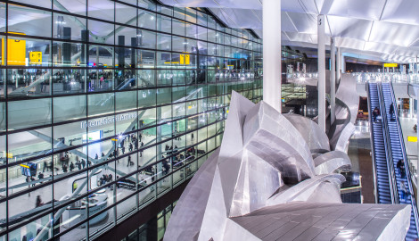 Heathrow Airport, Terminal 2A, atrium, Slipstream sculpture, November 2015.