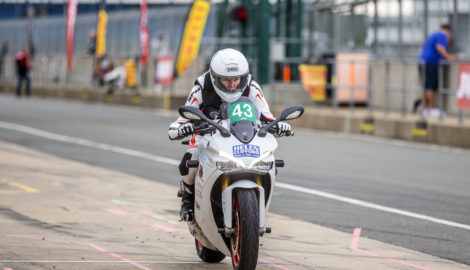 Claire Lomas with Silverstone Superbike School