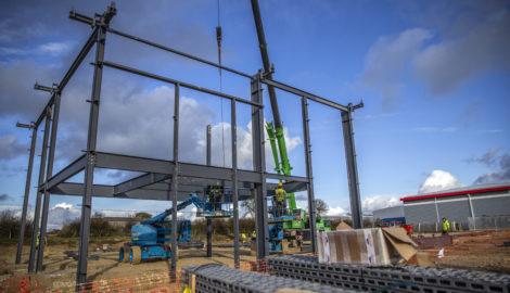 258,000 sq ft industrial development 'on schedule' as steel construction begins