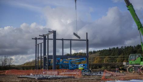 Steel works, 258,000 sq ft industrial development, Silverstone Park (Nov 2019)